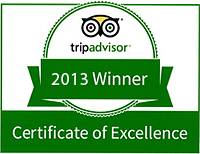 2013 Trip Advisor Certificate of Excellence